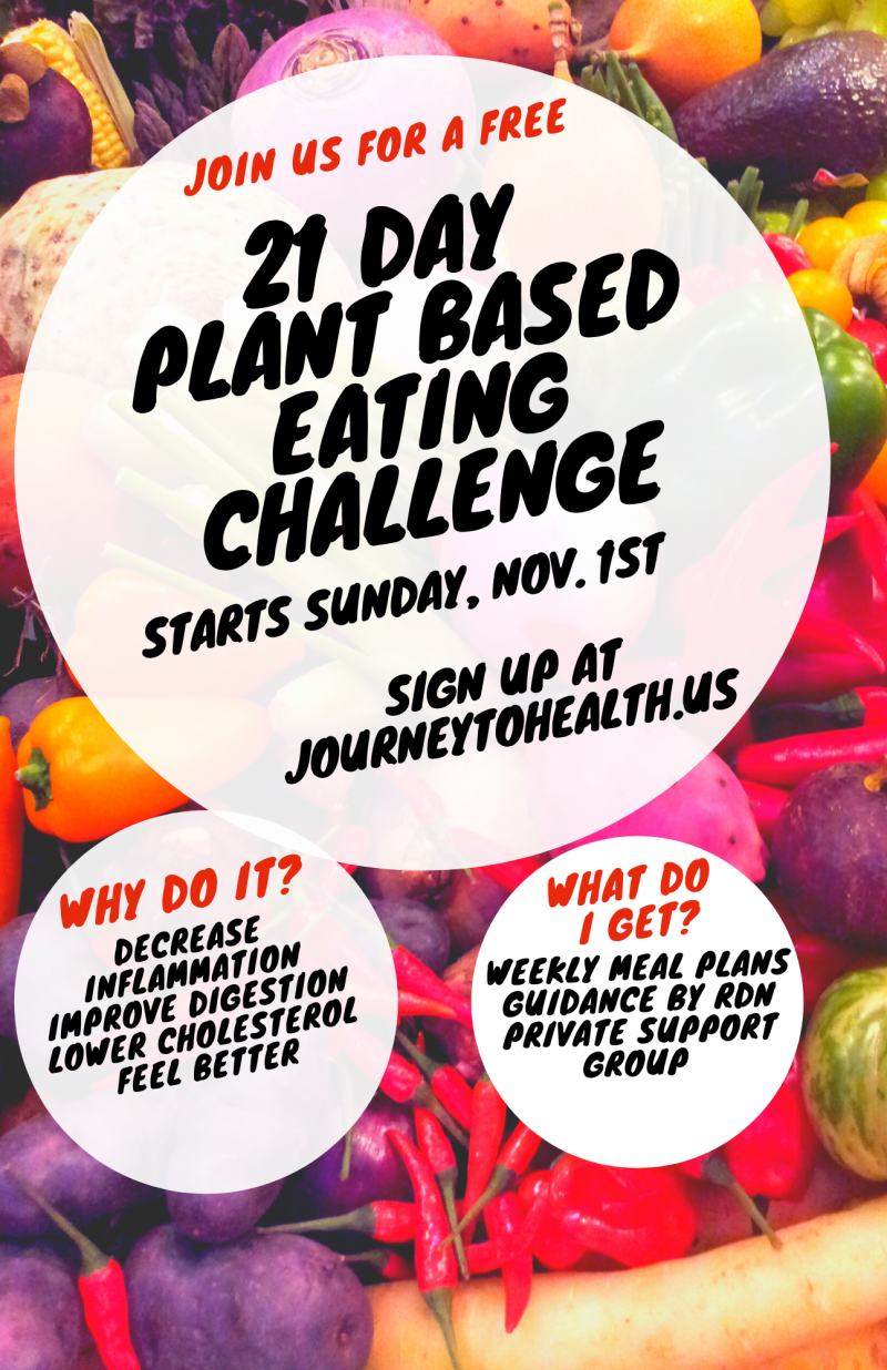 Sign up for our 21 Day Plant Based Eating Challenge Starts Sunday, Nov 1st!